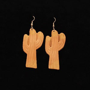 Women's Brown Leather Cactus Earrings