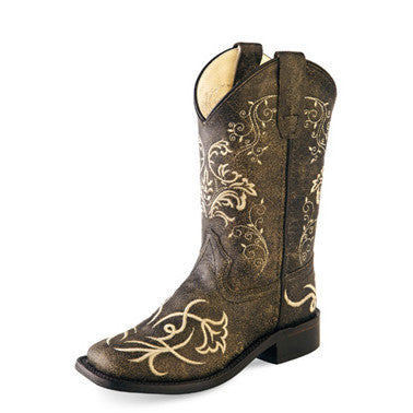 Brown and Cream Floral Youth Square Toe cowgirl Boots