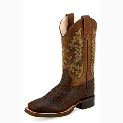 Old West Toddler/Child Brown and Tan Square Toe Boot