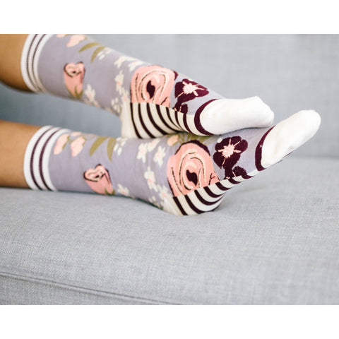 Women's Grey Floral Socks