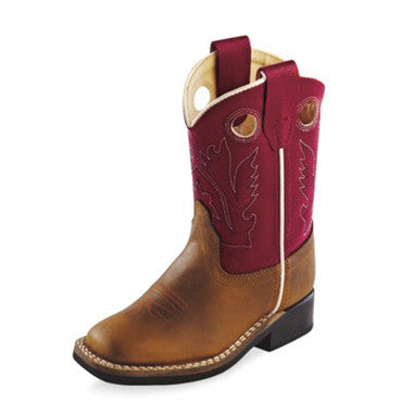 Old West Brown and Red Toddler Cowboy Boots