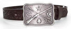 Tony Lama Kid's Chocolate Floral Belt with Cowboy Indians Buckle