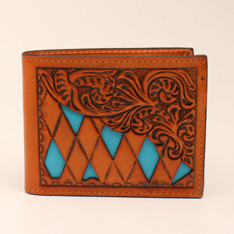 Tan and Turquoise Floral Diamond Bifold