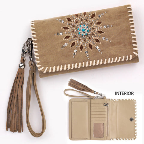 Women's Tan and Turquoise Rhinestone Wallet