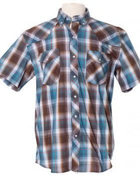Blue and Brown Plaid Shirt