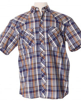 Blue and Tan Plaid Shirt