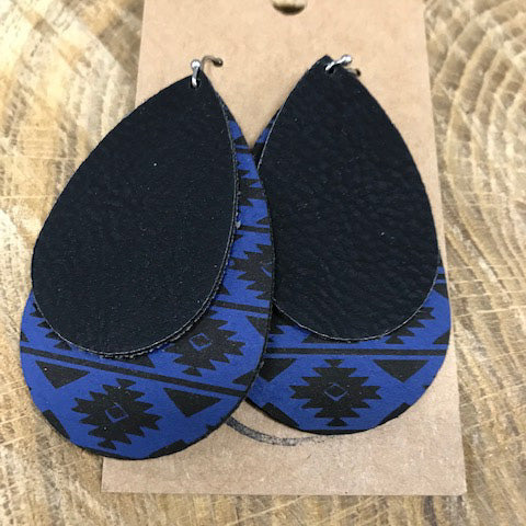 Large Blue Aztec Black Double