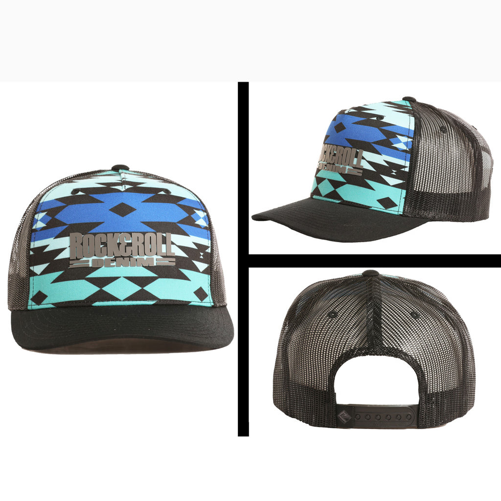 Rock & Roll Blue, Turquoise, and Black Aztec Cap