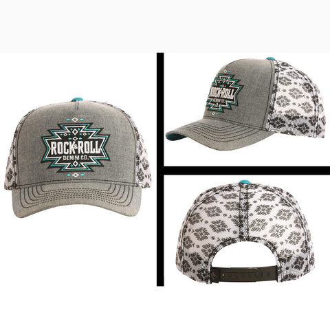 Rock & Roll Grey and Black Aztec Cap