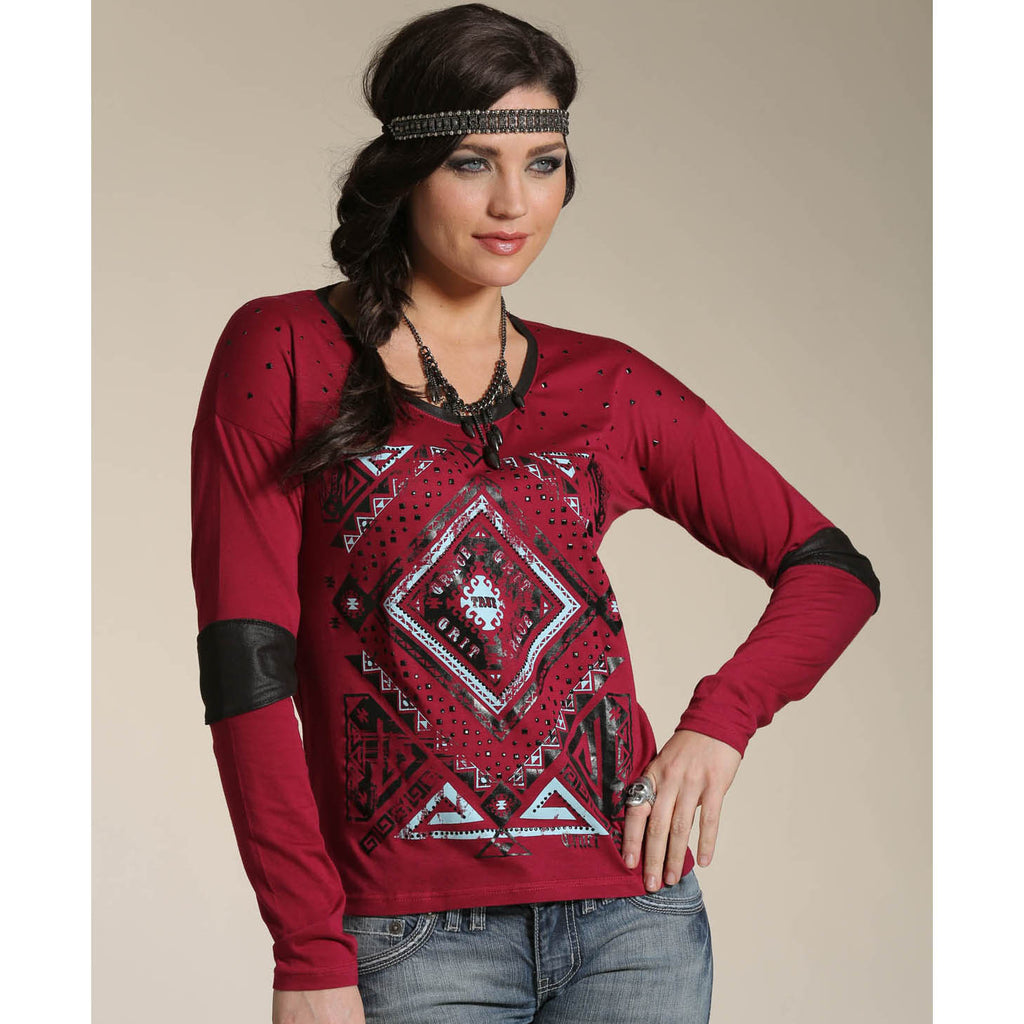 Cruel Girl Red Aztec Patched Shirt