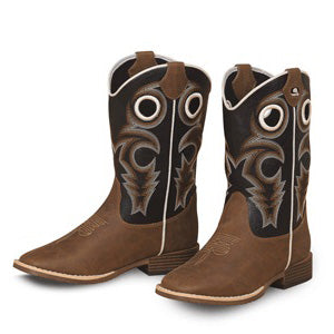 Kid's Brown and Black Trace Square Toe Boot