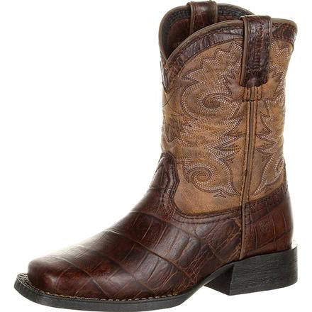 Durango Little Kid's Chocolate Gator Embossed Leather Square Toe Boot