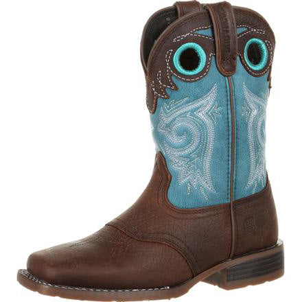 Durango Kid's Lil' Mustang Saddle Brown and Teal SQ Toe Boot