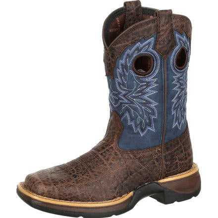 Durango Kid's Lil' Rebel Chocolate Faux Elephant and Navy SQ Toe Boot