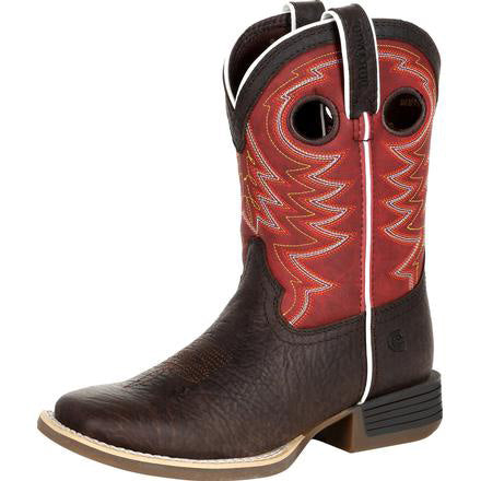 Durango Kid's Chestnut and Red Square Toe Boot