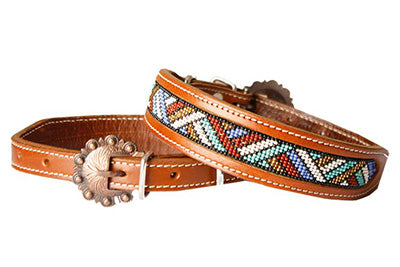 Beaded Inlay Dog Collar