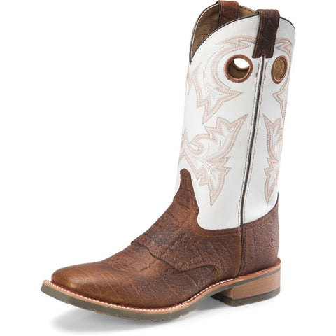 Double H Men's Marty Cognac and Natural Wide SQ Toe Work Boot
