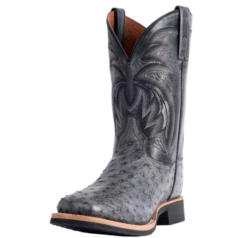 Dan Post Men's Grey Full Quill Ostrich Philsgood Square Toe Boot