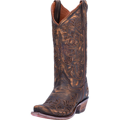 Dan Post Women's Brown Gold Inlay Snip Toe Boots