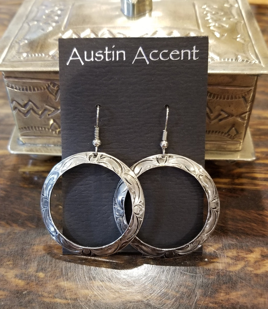 Austin Accent Inc Large Circle Silver Engraved Earrings