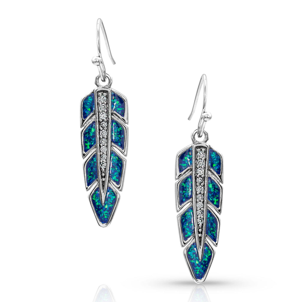 Montana Silver Hawk Feather Opal Earrings