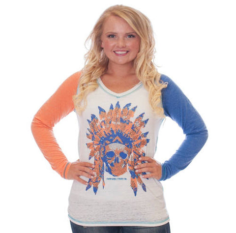 Cowgirl Tuff Skull and Stud Long Seeve Burnout Tee
