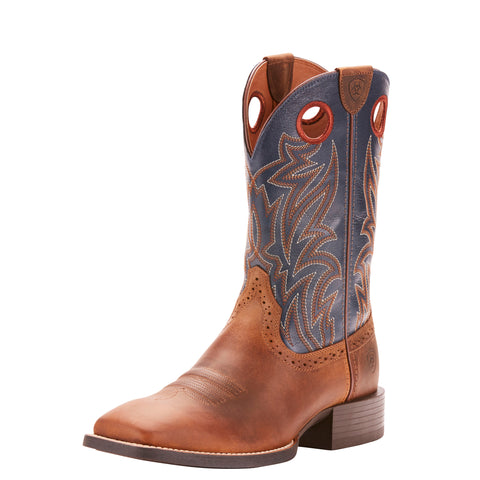 Ariat Men's Brown and Blue Sport Sidebet Square Toe Boot