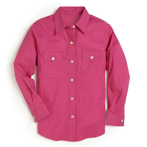 Wrangler Hot Pink Girls Pearl Snap Shirt