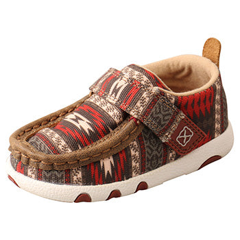 Twisted X  Red and Brown Aztec Infant Moccasins