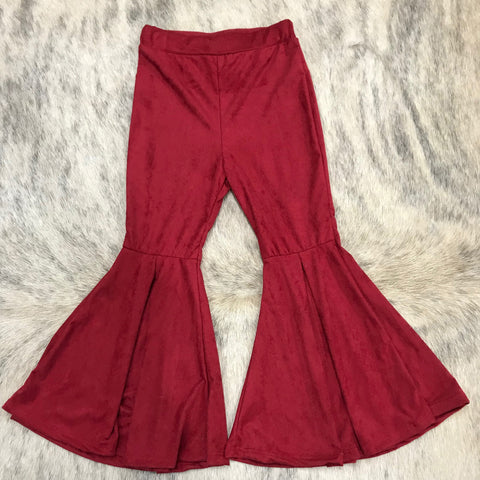Girl's Red Suede Bell Pants