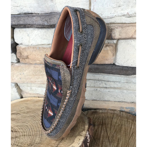 PRE SALE!! ~~Western Edge Exclusive Twisted X Kid's Grey Aztec Slip On Mocc