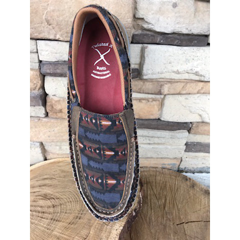 WE Exclusive ~  Twisted X Men's Grey Aztec Slip On Mocc