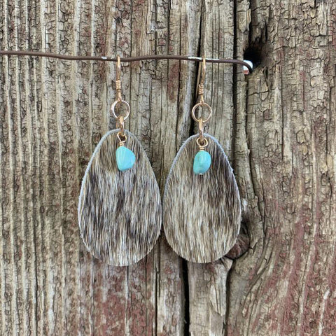 Turquoise Cowhide Tear Drop