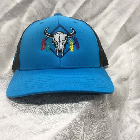 Western Edge Blue and Black Long Horn Skull Cap