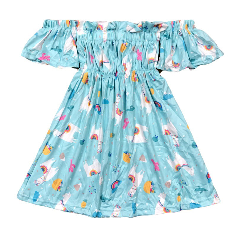 Toddler Teal Llama Off the Shoulder Dress