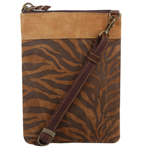 Leather Tiger Cross Body Purse
