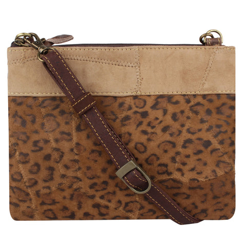 Leather Leopard Cross Body Purse