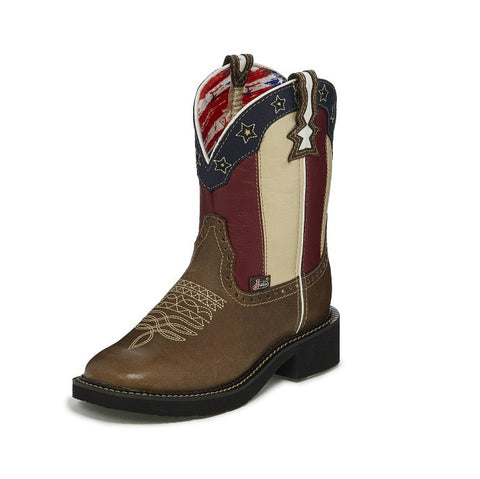 Justin Women's Hasle Buffalo Old Glory Gypsy Extra Wide Round Toe Boot