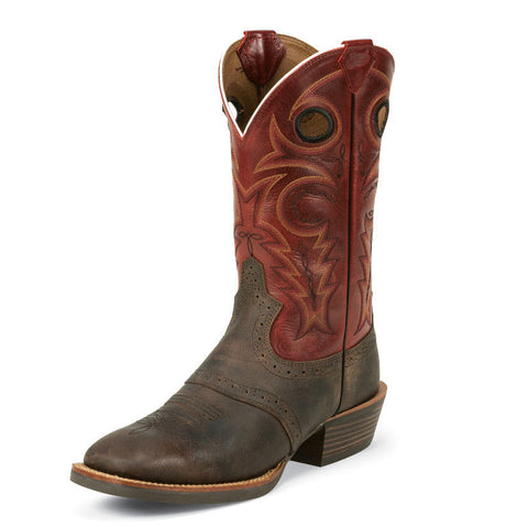 Justin Men's Red Torino and Chocolate Square Toe