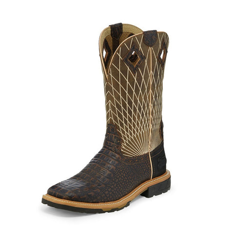 Justin Men's Brown & Tan Derrickman Croc Print EH Rated Square Toe Boot