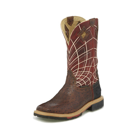Justin Men's Brown Derrickman Ostrich Print & Red EH Rated Waterproof SQ Boot