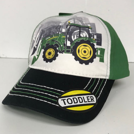 Boys White and Green Tractor Cap