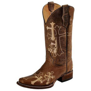 Women's Brown Cross Embroidered Boot