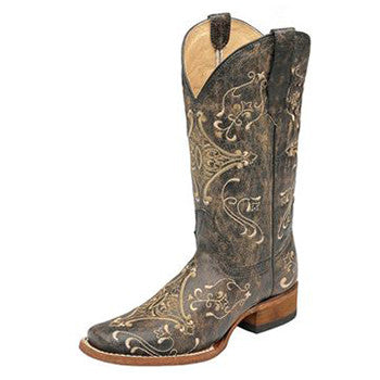 Corral Women's Circle G Brown Vintage Square Toe Boots
