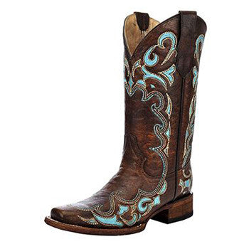 Circle G by Corral Brown Turquoise Scroll Square Toe