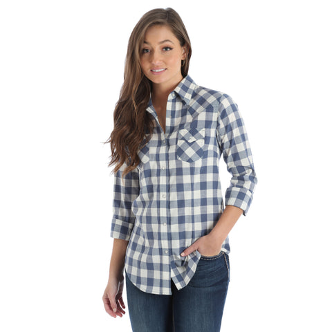 Wrangler Women's Cream and Navy Plaid Long Sleeve Shirt