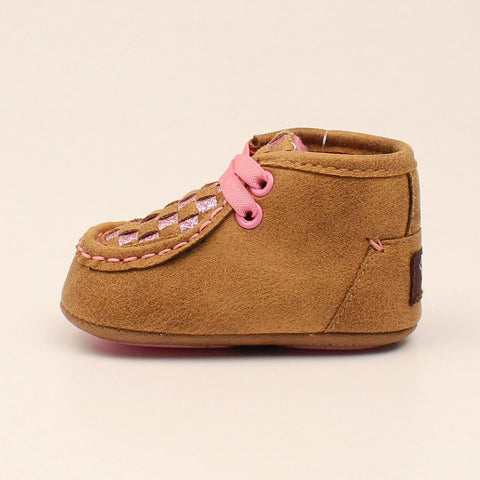 Infant Pink and Brown Sparkle Weave Moc