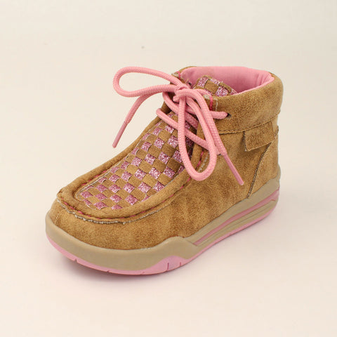 Toddler Brown and Pink Lauren Casual Light Up Mocc