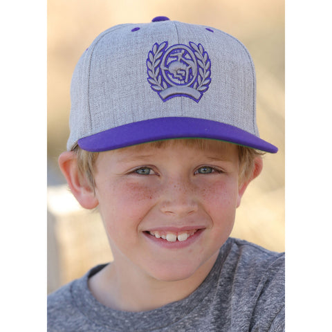 Cinch Youth Grey with Purple Crest Cap
