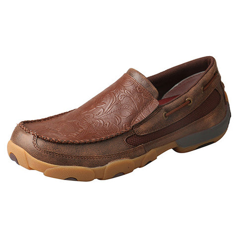Twisted X Men's Brown Cognac Floral Slip On Mocc
